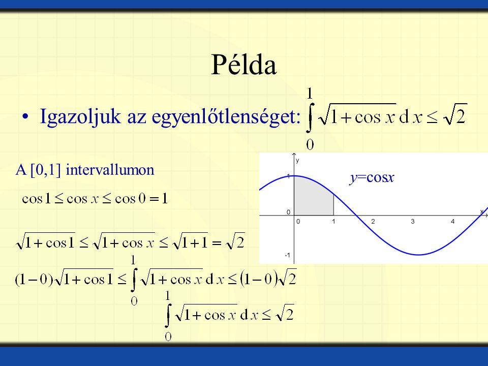 Példa Igazoljuk az egyenlőtlenséget: y=cosx A [0,1] intervallumon